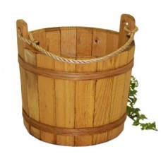 Large Stained Pine Bucket