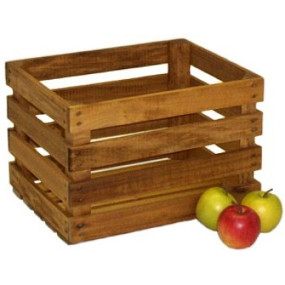 Medium Stained Apple Crate - Half Bushel