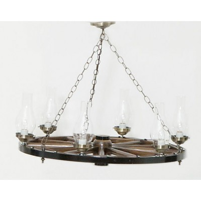 Chandelier - Dk Walnut - Bright Brass - 24